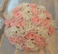ARTIFICIAL PINK/WHITE FOAM ROSE BRIDE WEDDING FLOWERS BOUQUET POSIE CRYSTAL
